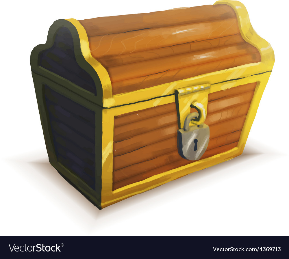 Realistic icon treasure chest isolated