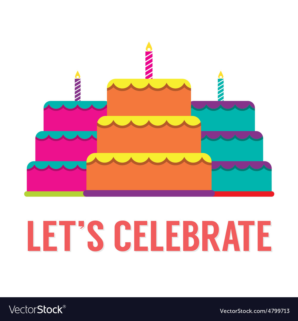 Set Of Colorful Stack Cakes With Candles vector image
