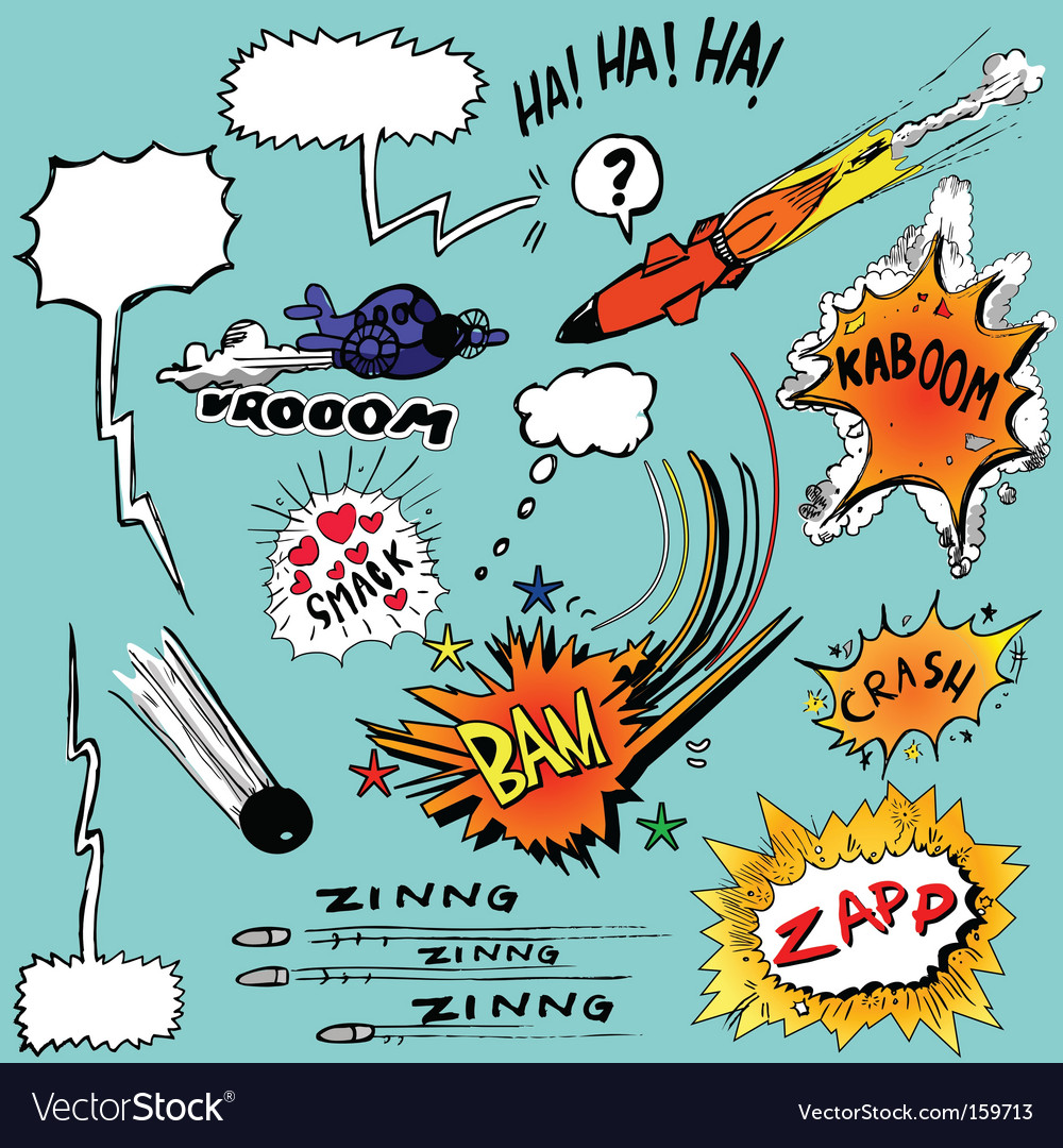 Set of comic book elements vector image