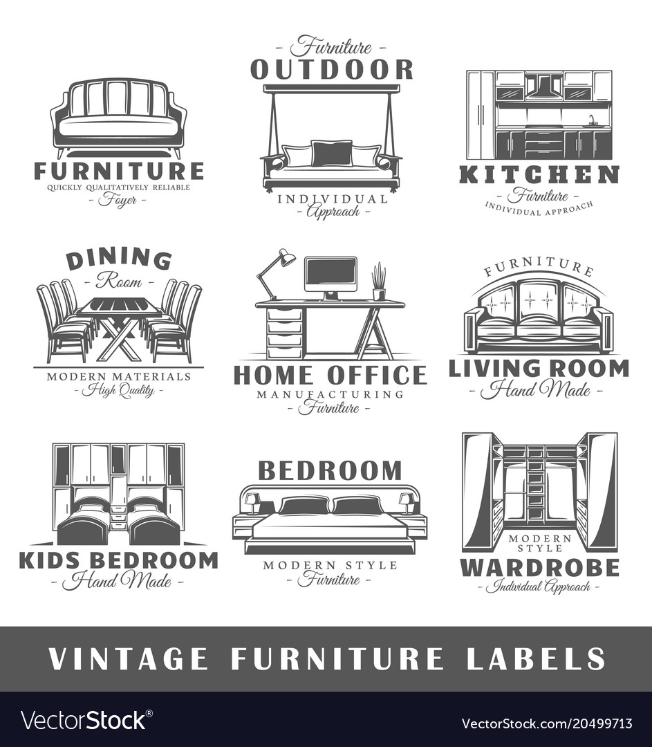 Set of vintage furniture labels Royalty Free Vector Image