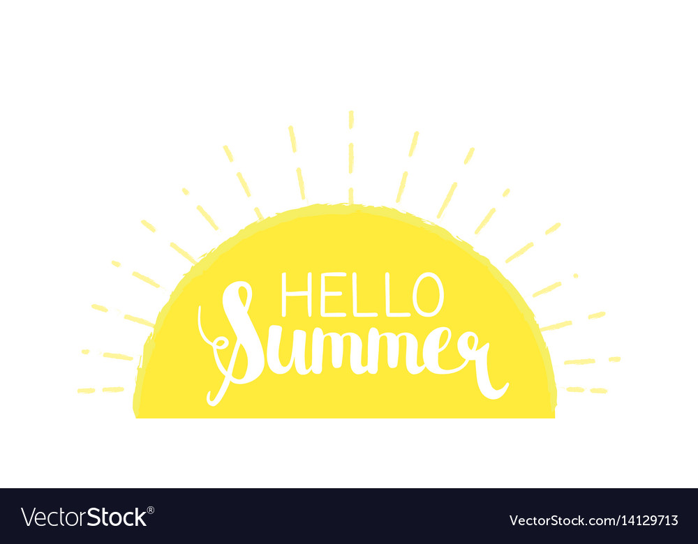 Sun rays background with hello summer letters