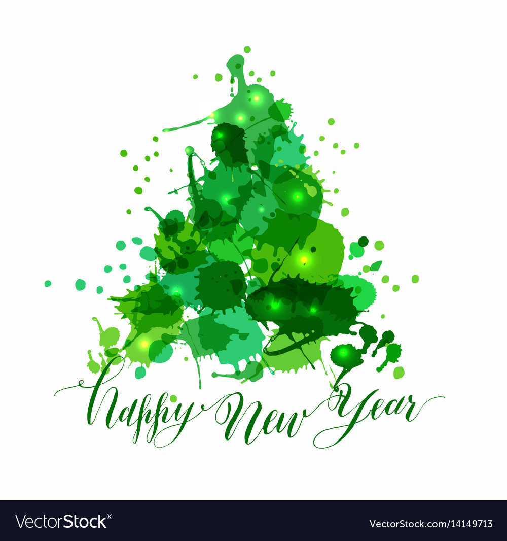Tree blots christmas decoration with calligraphy vector image