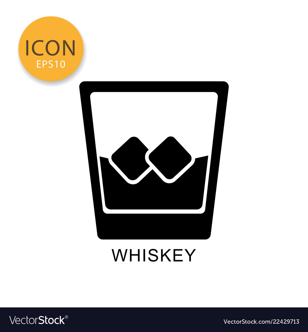 Whiskey glass icon isolated flat style