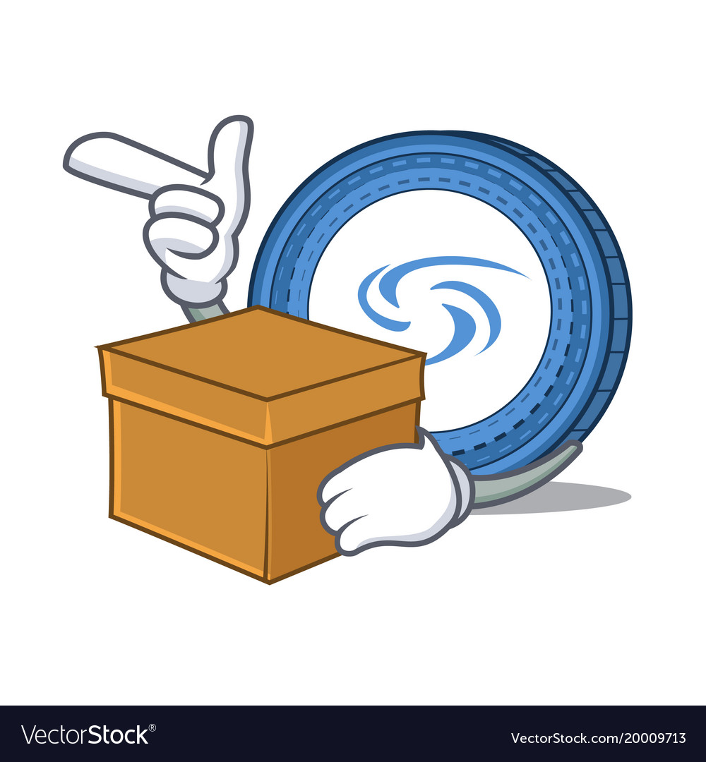 With box syscoin character cartoon style vector image