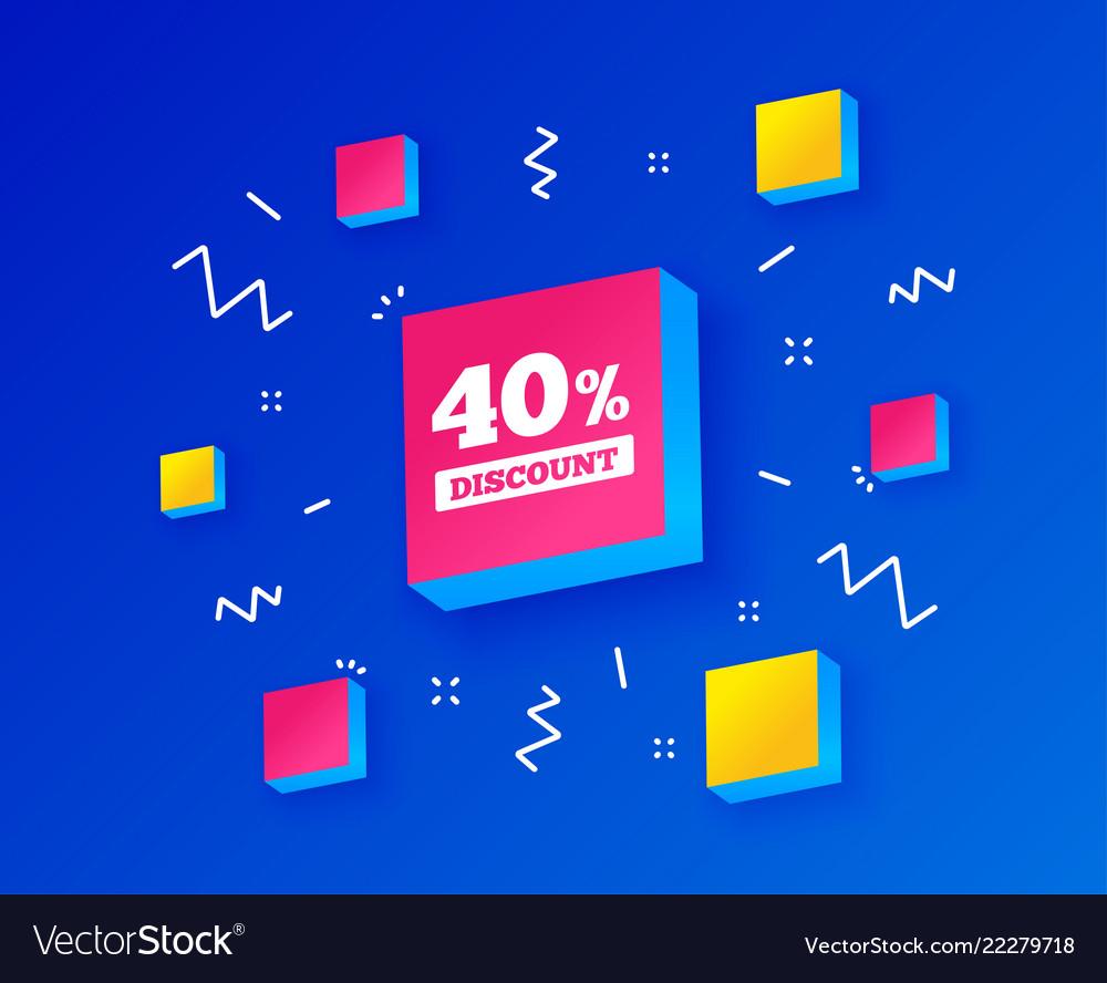 40 percent discount sign icon sale symbol