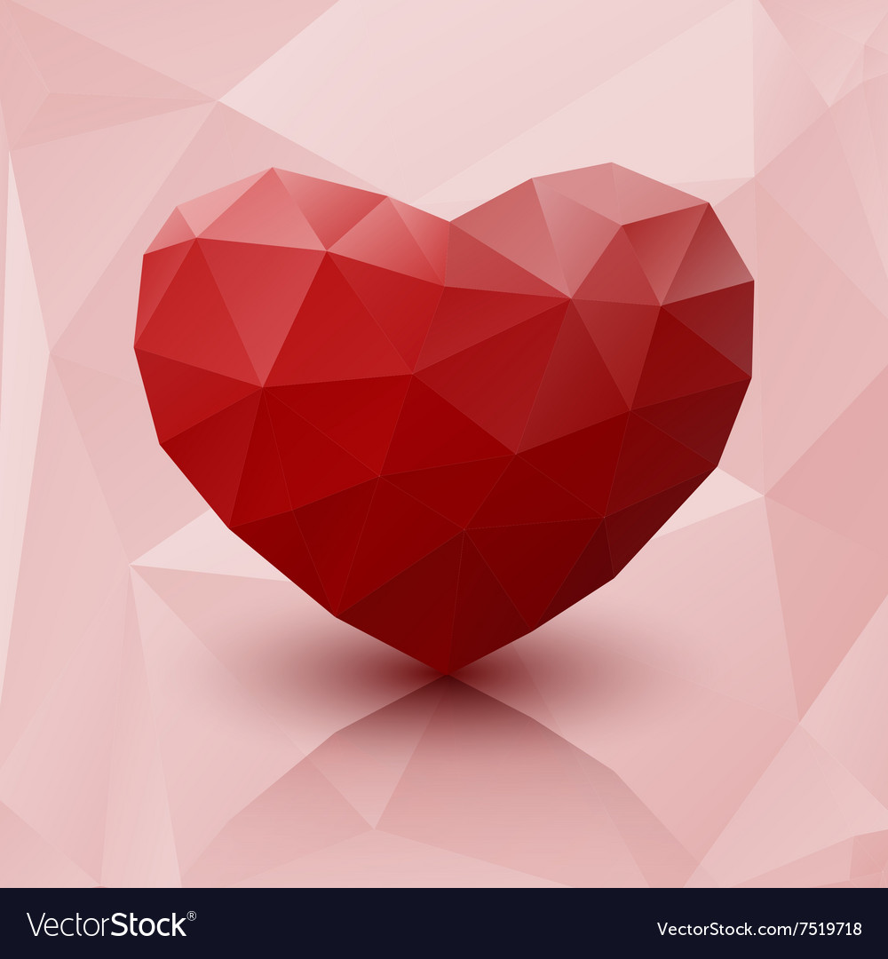 Abstract red heart low poly with reflection vector image