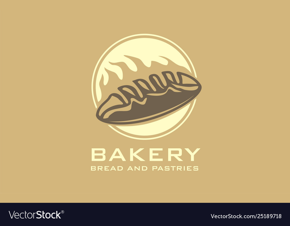 Bakery logo with bread and oven flame
