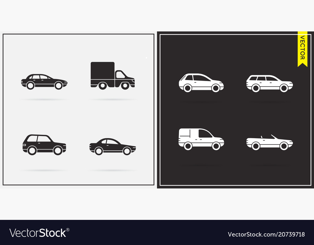 Big set of car icons in black and white
