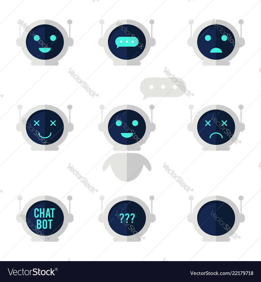 Chat bot icon set robot with speech bubble and