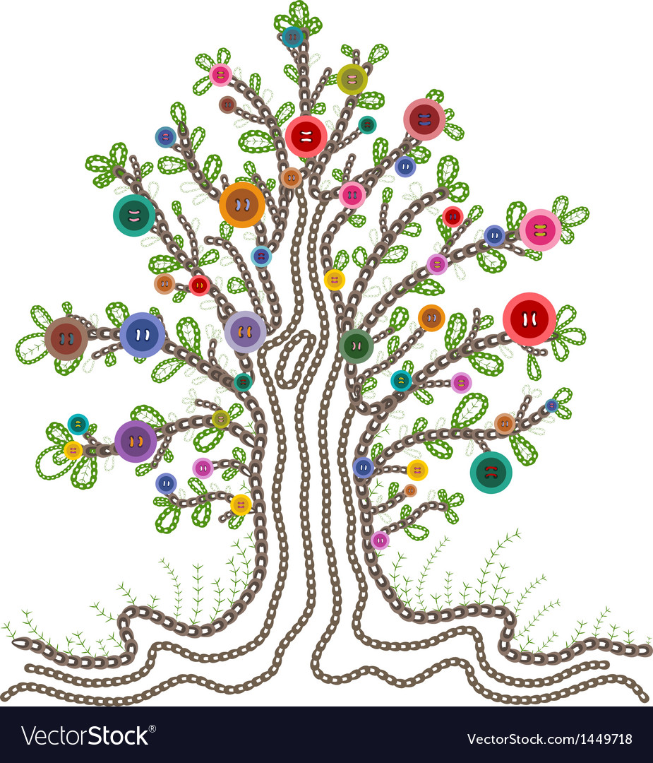 Colorful Embroidered Tree with Buttons Fruits vector image