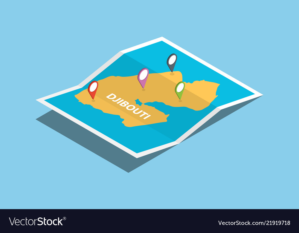 Djibouti africa explore maps with isometric style Vector Image on