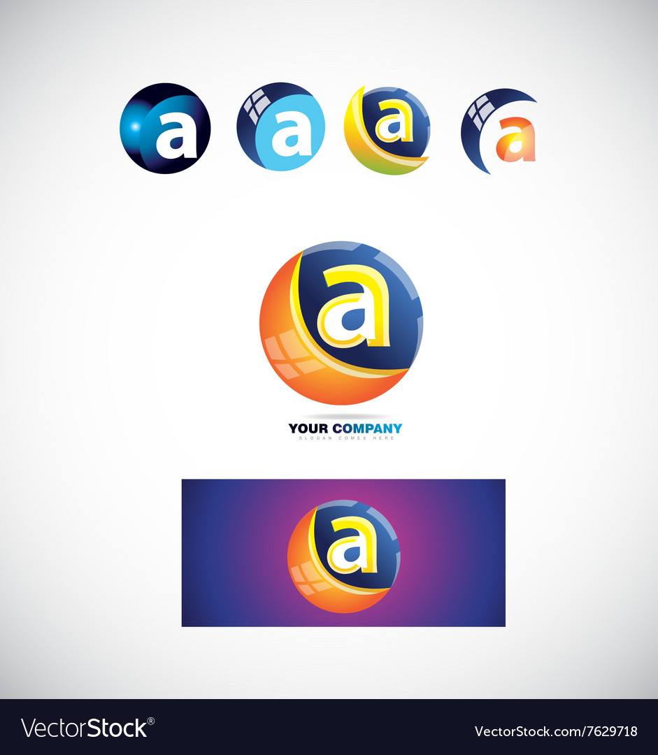 Letter a sphere logo icon 3d vector image