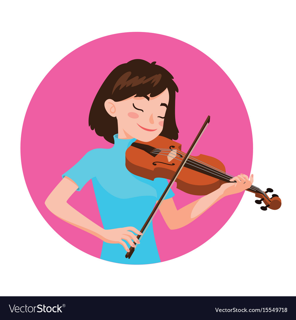 Musician playing violin girl violinist is