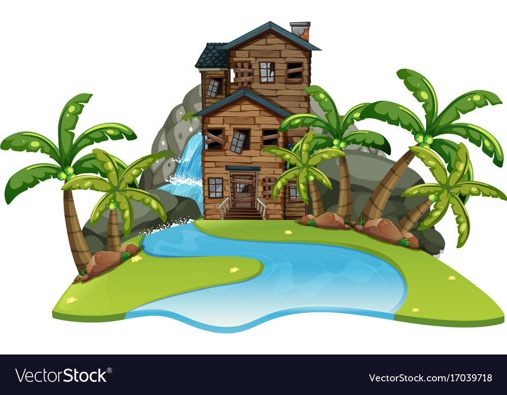 Scene with old wooden house by river vector image