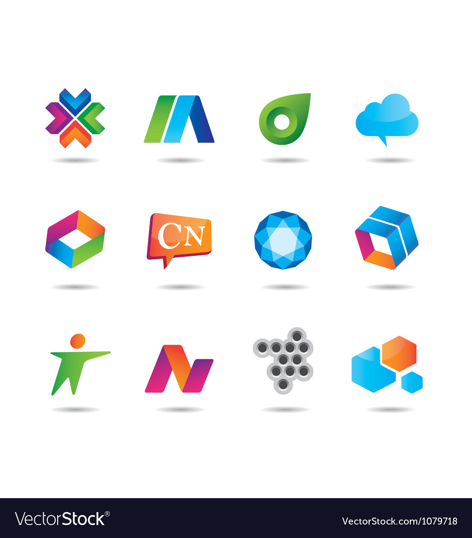 Set logo design and web icons vector image