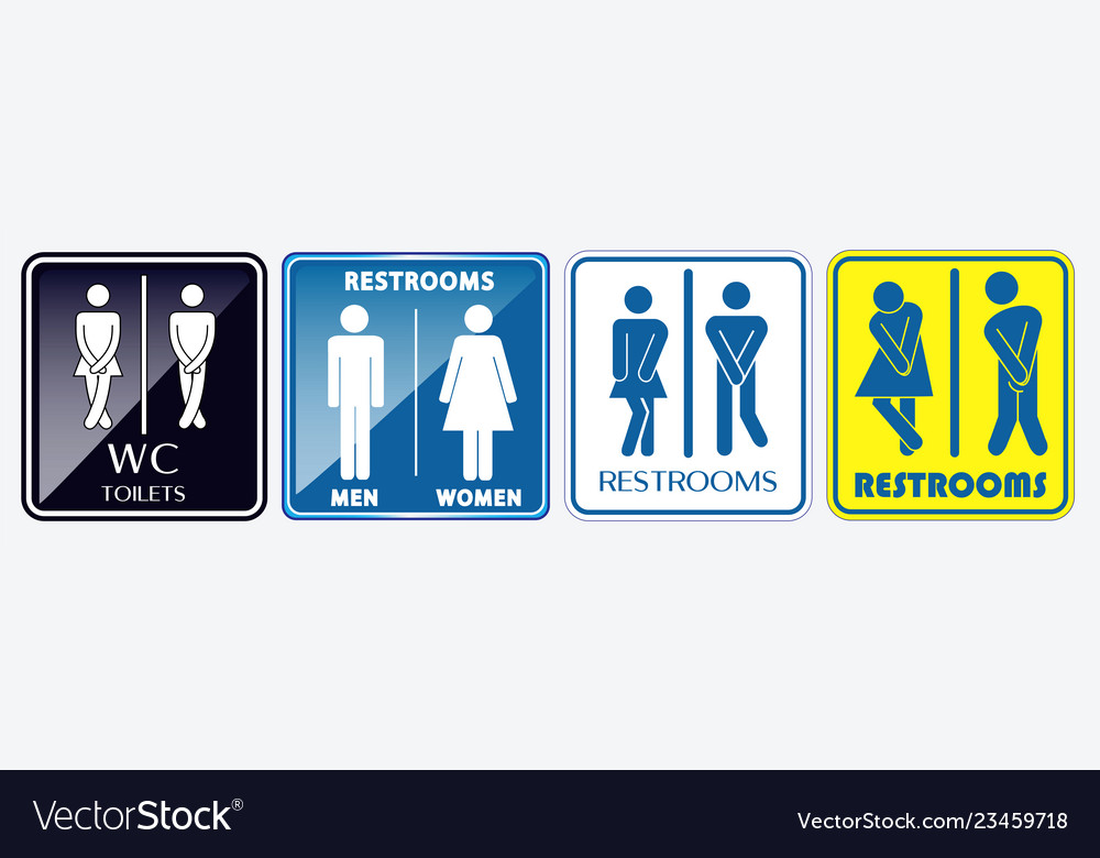Set of restroom placard sign