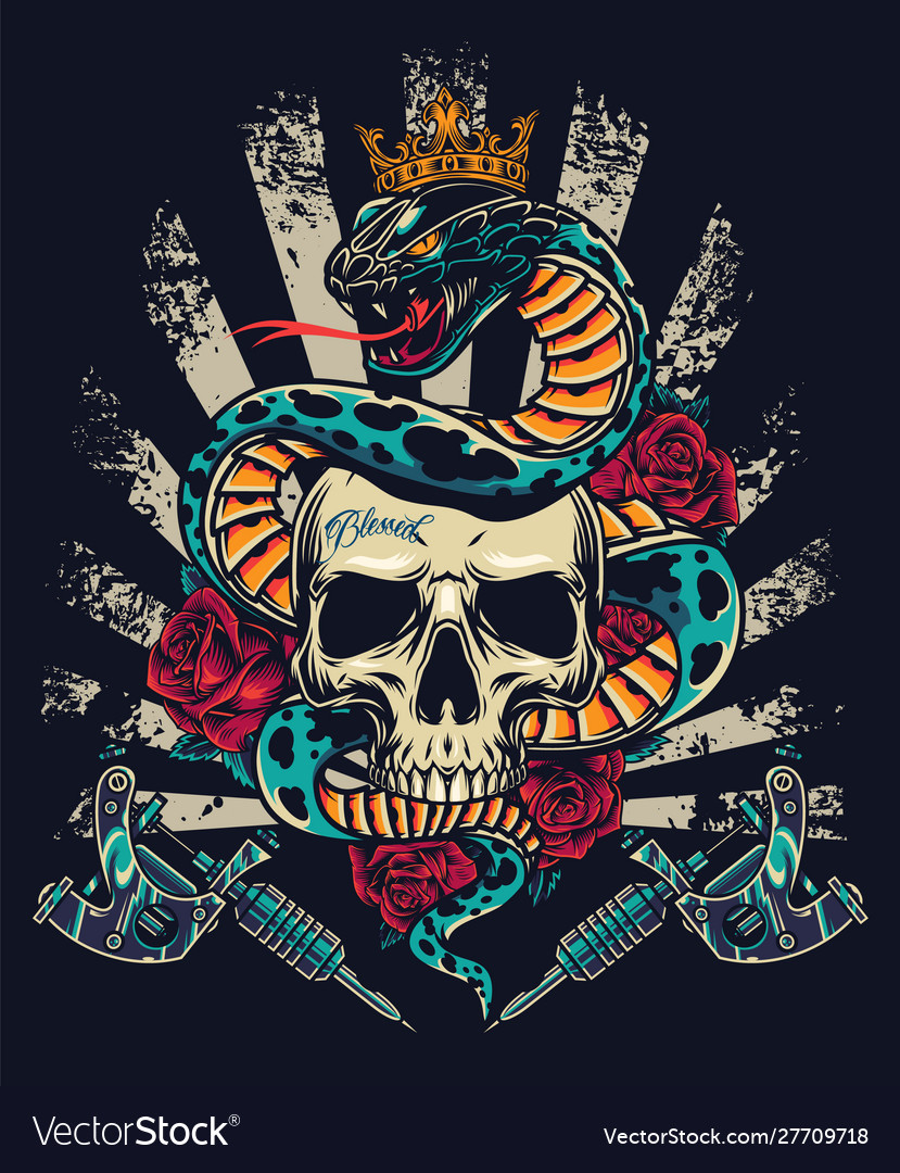 Vintage colorful tattoo concept