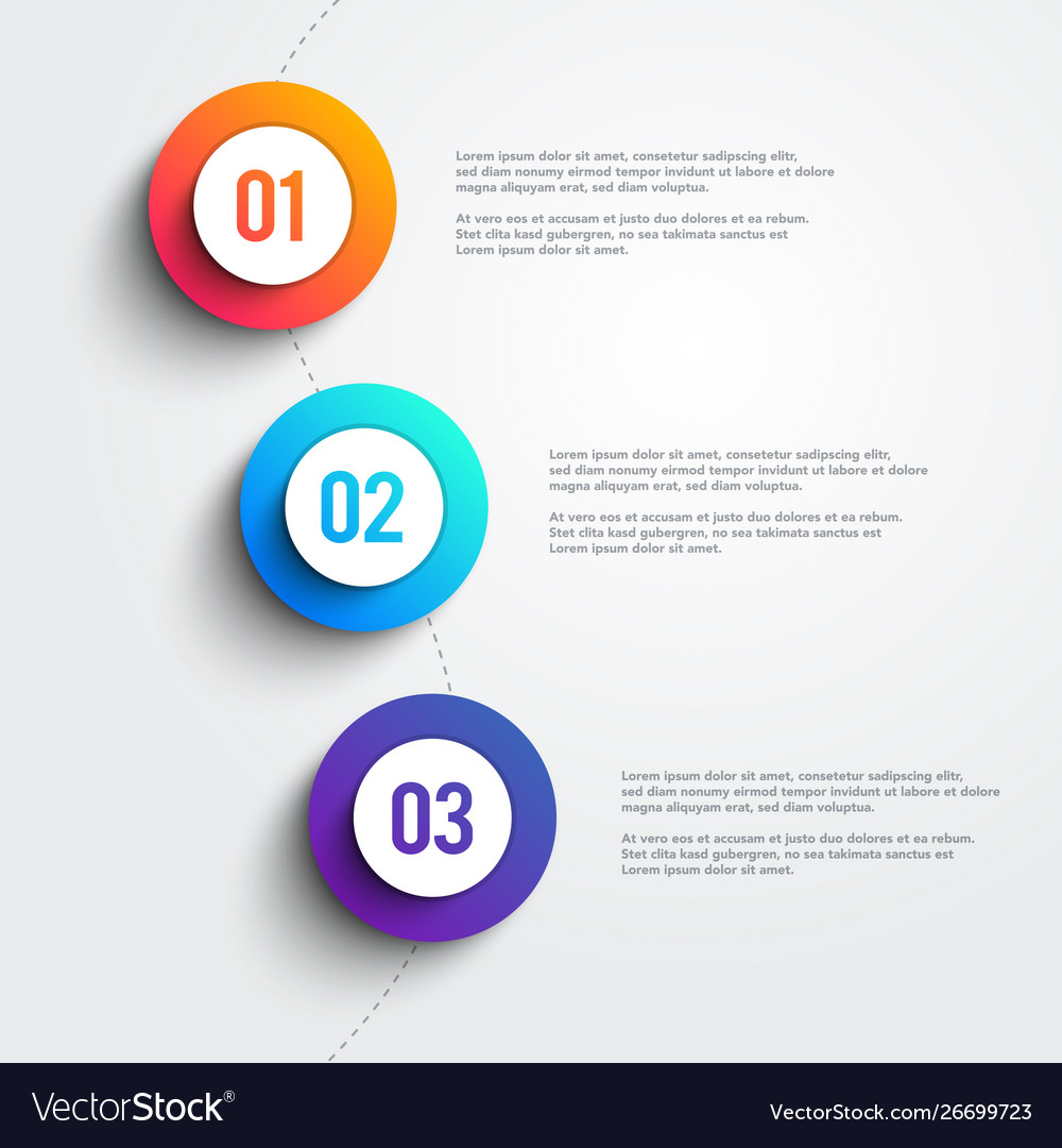 3 colorful marker shapes line infographic