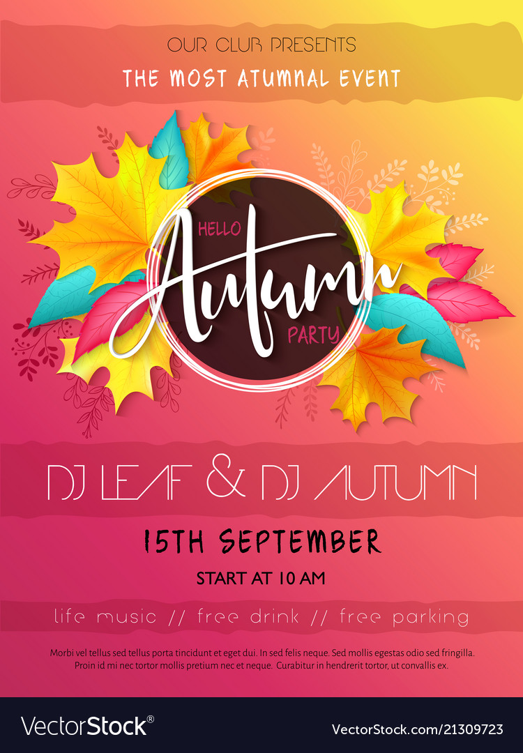 Autumn Party Poster Template With Hand Royalty Free Vector