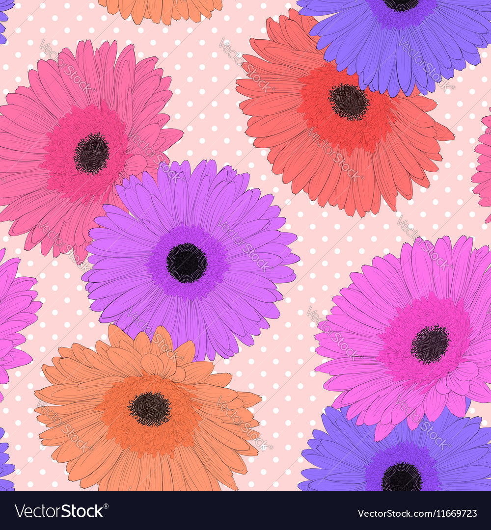 Background with gerbera flower Hand-drawn vector image