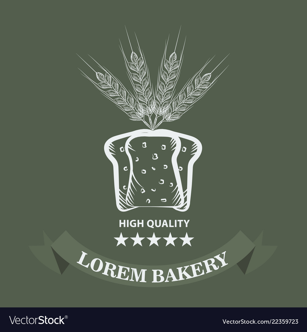 Bakery logo with sliced fresh bread wheat ribbon