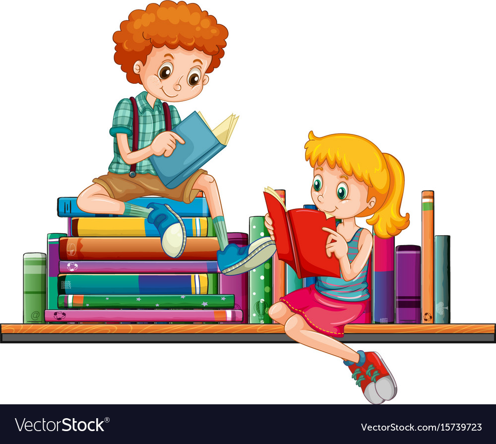 Boy and girl reading books together vector image