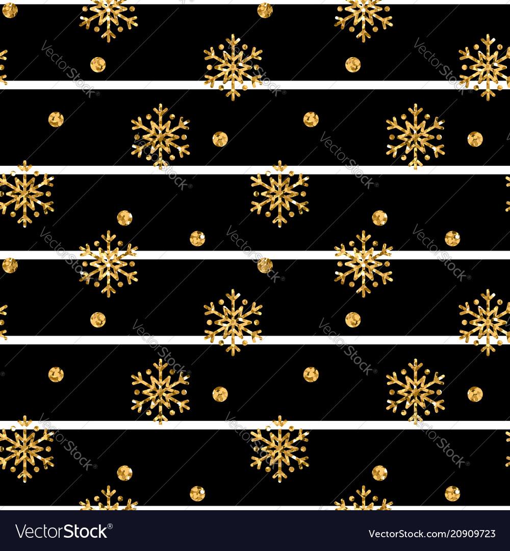 Christmas gold snowflake seamless pattern golden