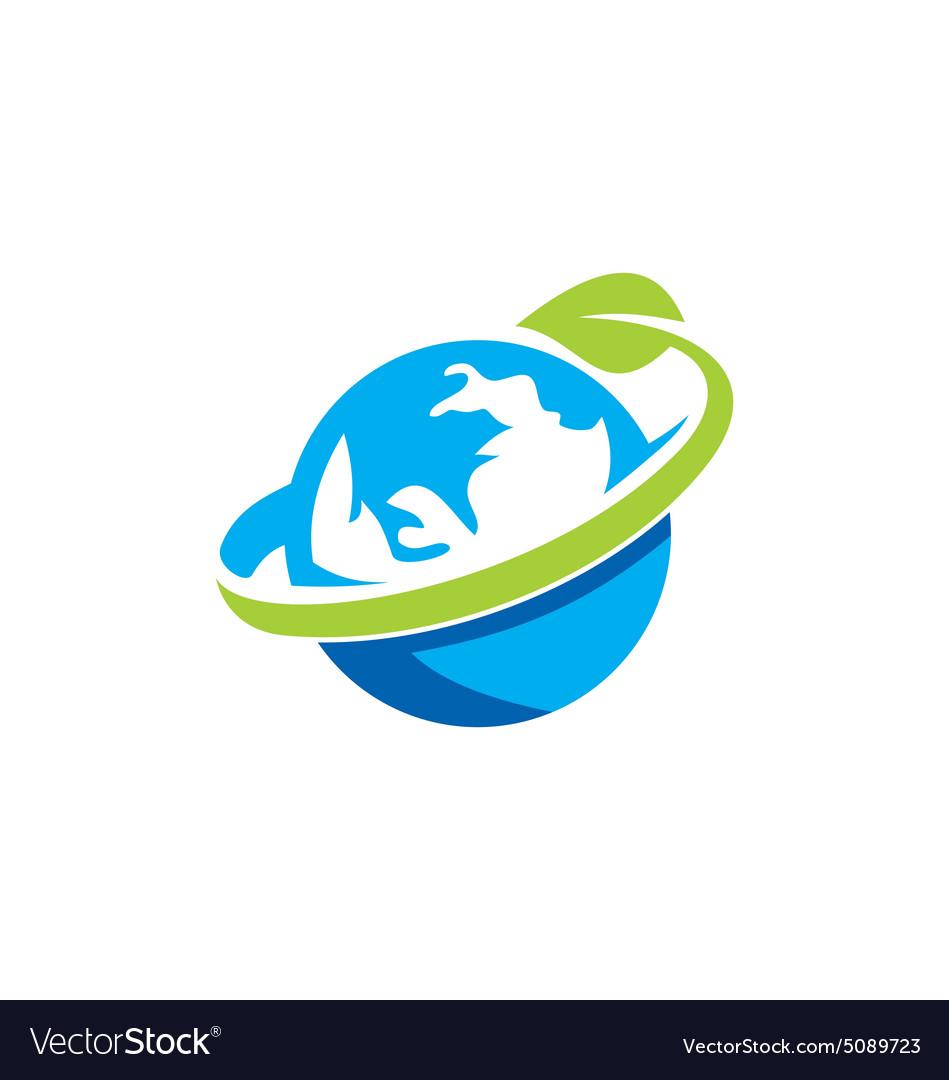 Globe earth green leaf logo