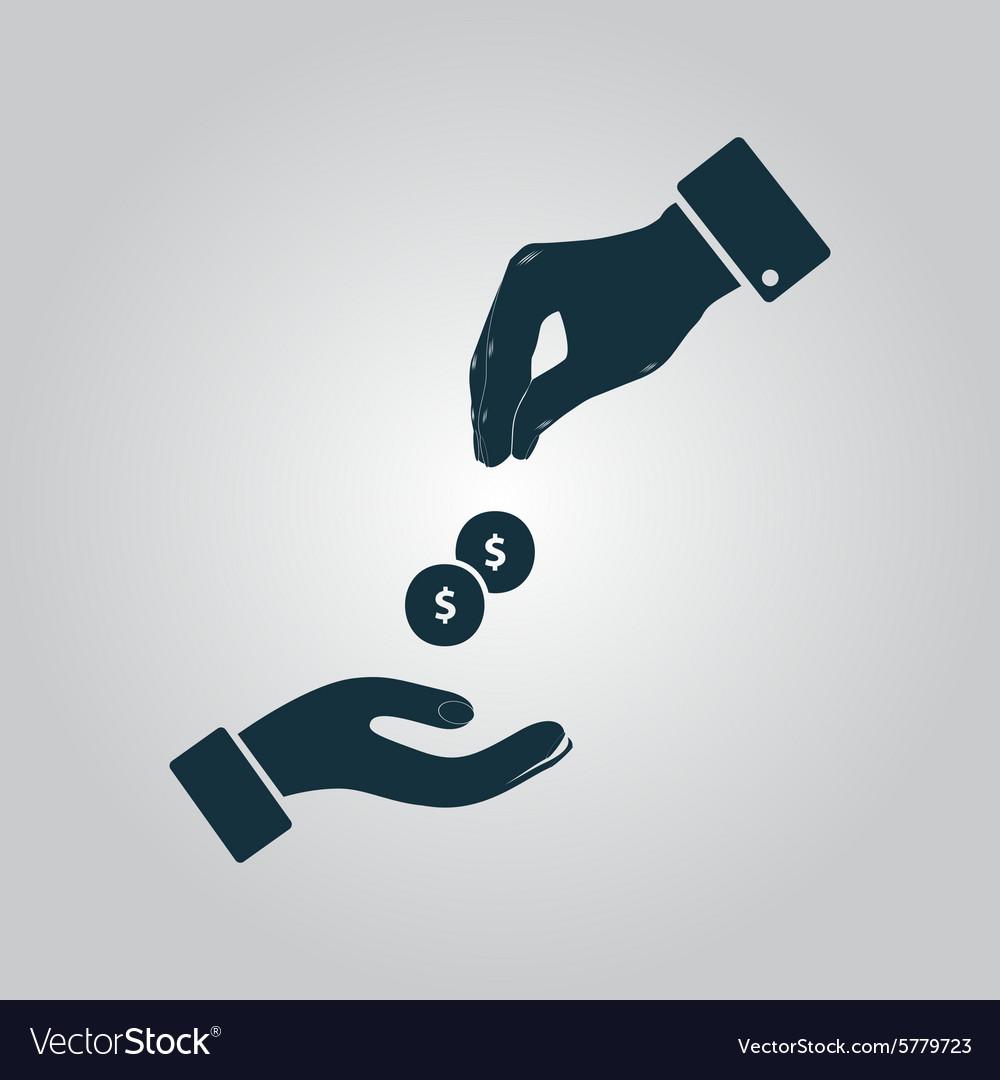 hands giving and receiving money royalty free vector image rh vectorstock com giving hands vector art giving hands vector image