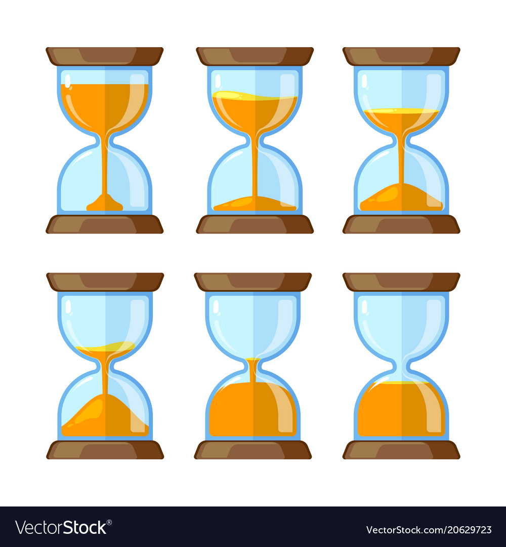 Key frames of hourglasses isolate on white