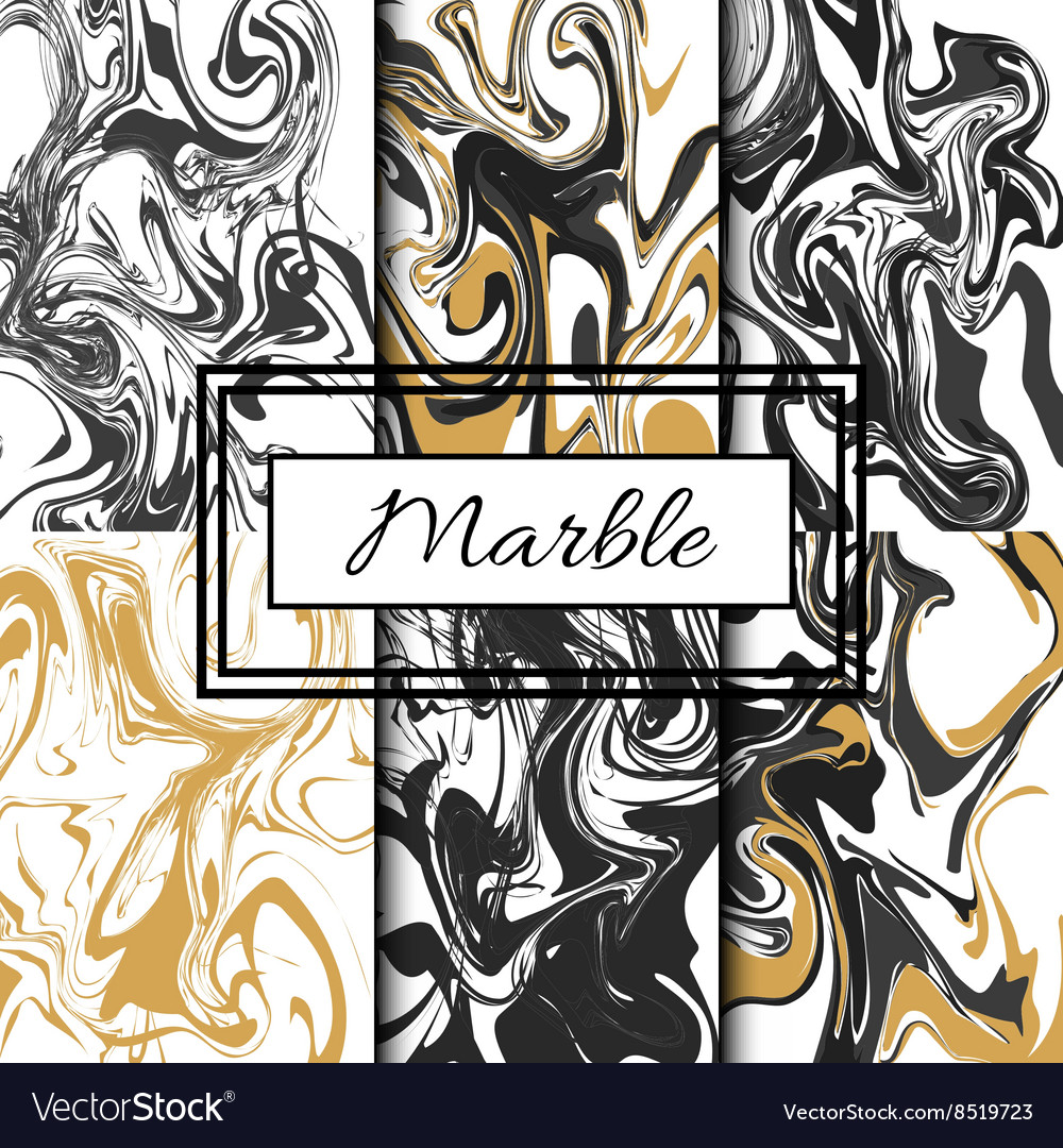 Marble texture set Hand drawn ink marble