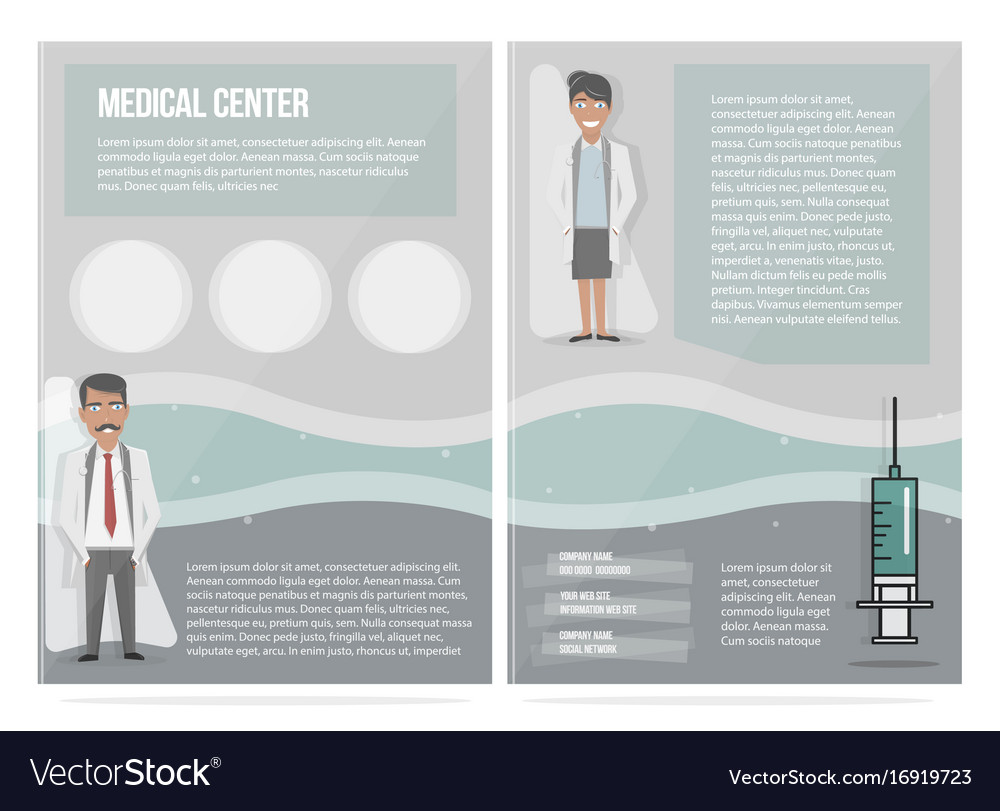 Medical brochure design template the characters vector image