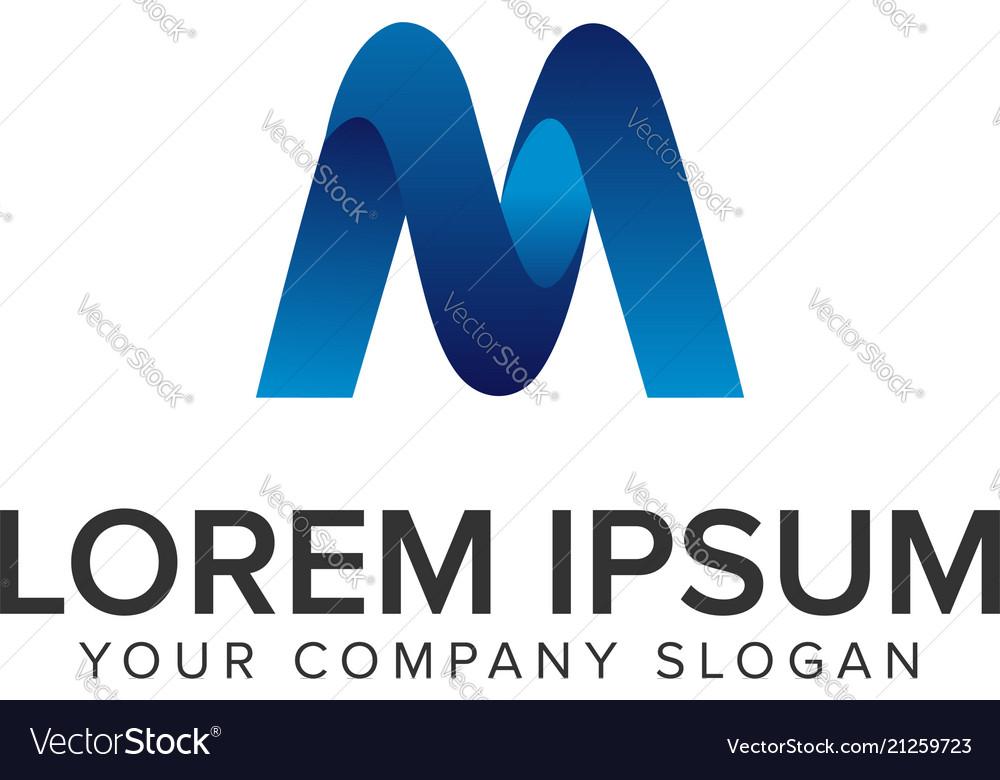 Modern letter m 3d logo design concept template