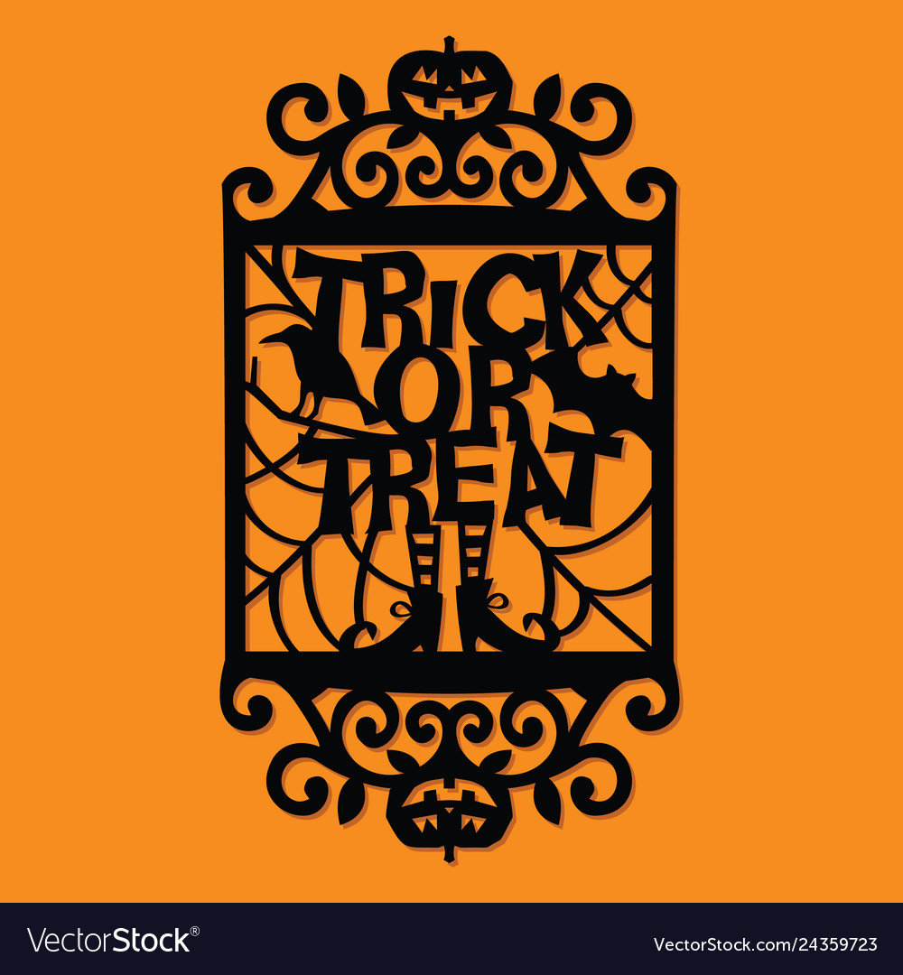 Halloween Trick Or Treat Silhouette.Paper Cut Silhouette Halloween Trick Or Treat