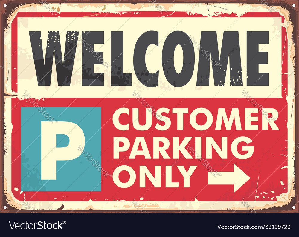 Parking sign design in retro style