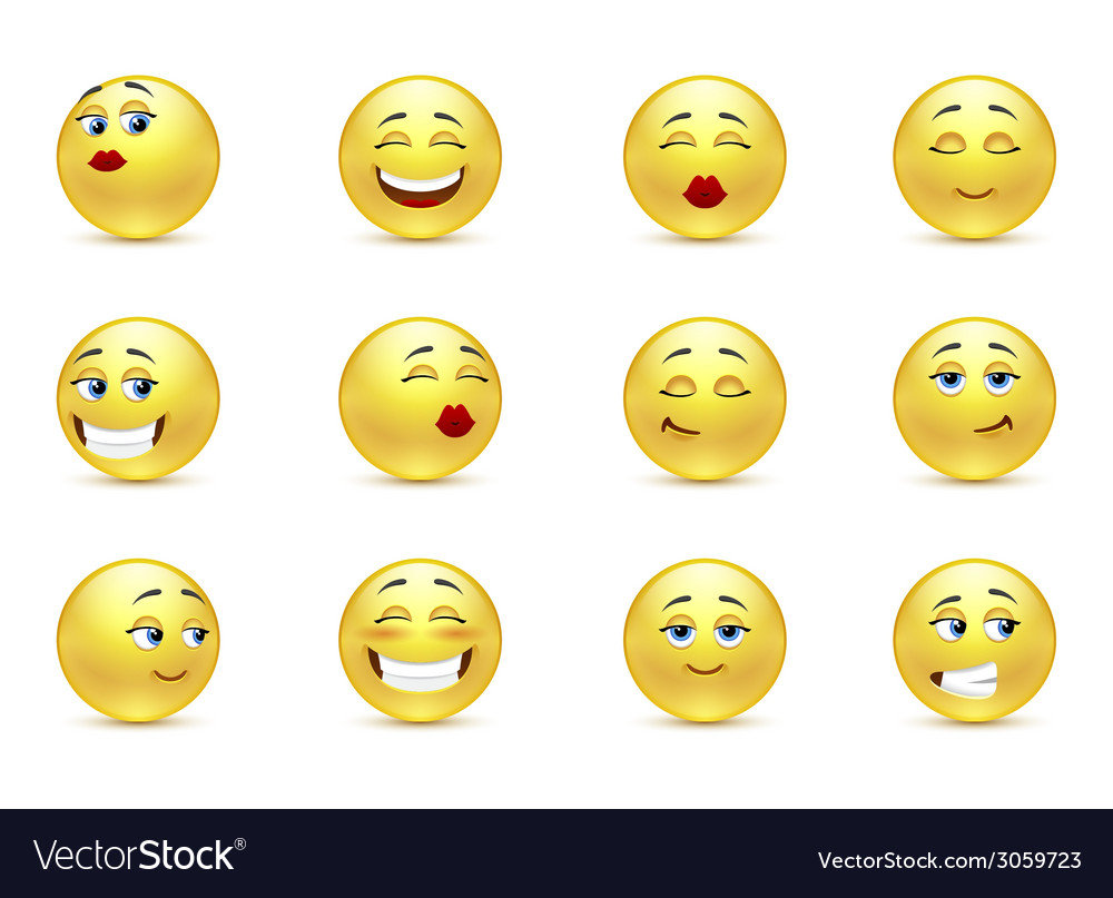 Set beautiful smiles vector image