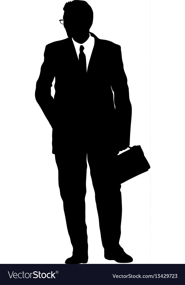 Silhouette businessman man in suit with tie on a