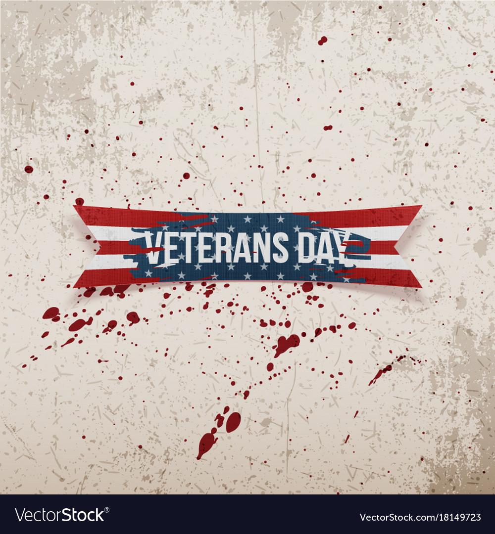 Veterans day american greeting bent ribbon vector image m4hsunfo