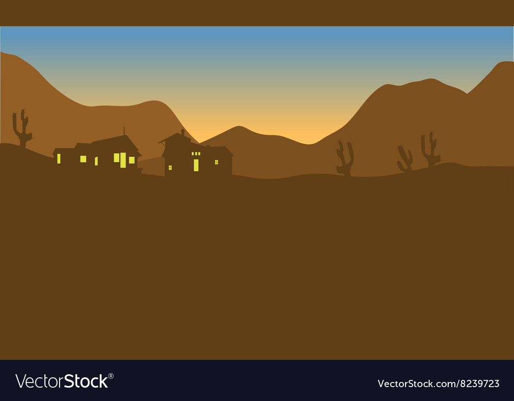 View house on the mountains of silhouette vector image