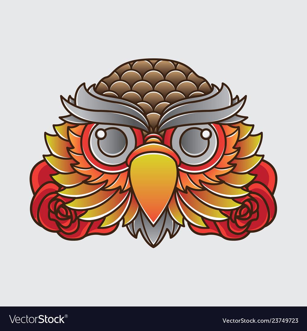 Vintage owl head tattoo design
