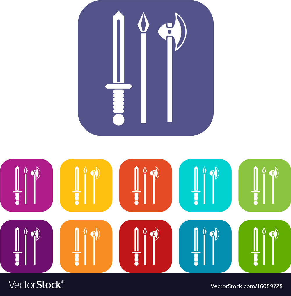 Ancient weapon sword pick and axe icons set vector image
