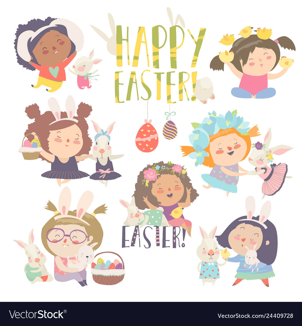 Cute little girls with easter theme happy easter