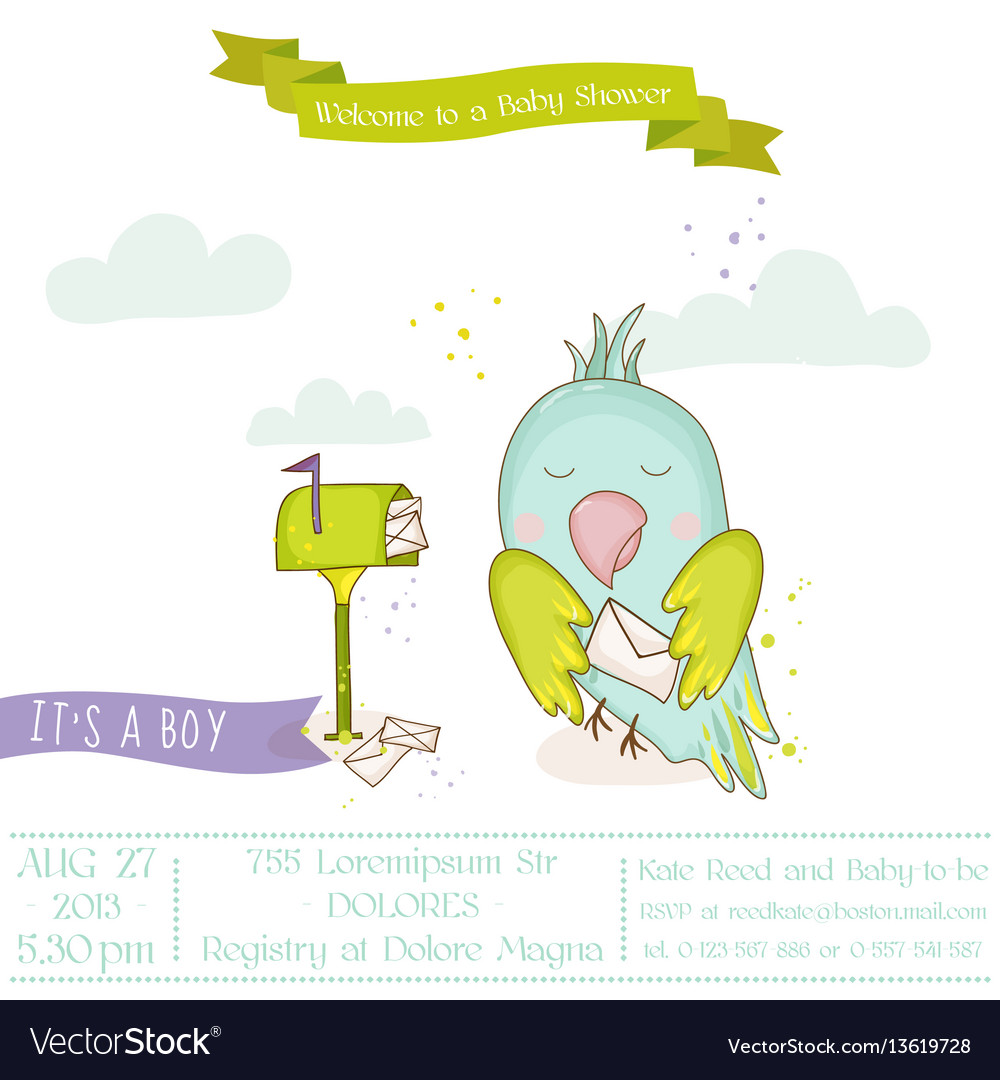 baby shower invitation parrot vector images 40