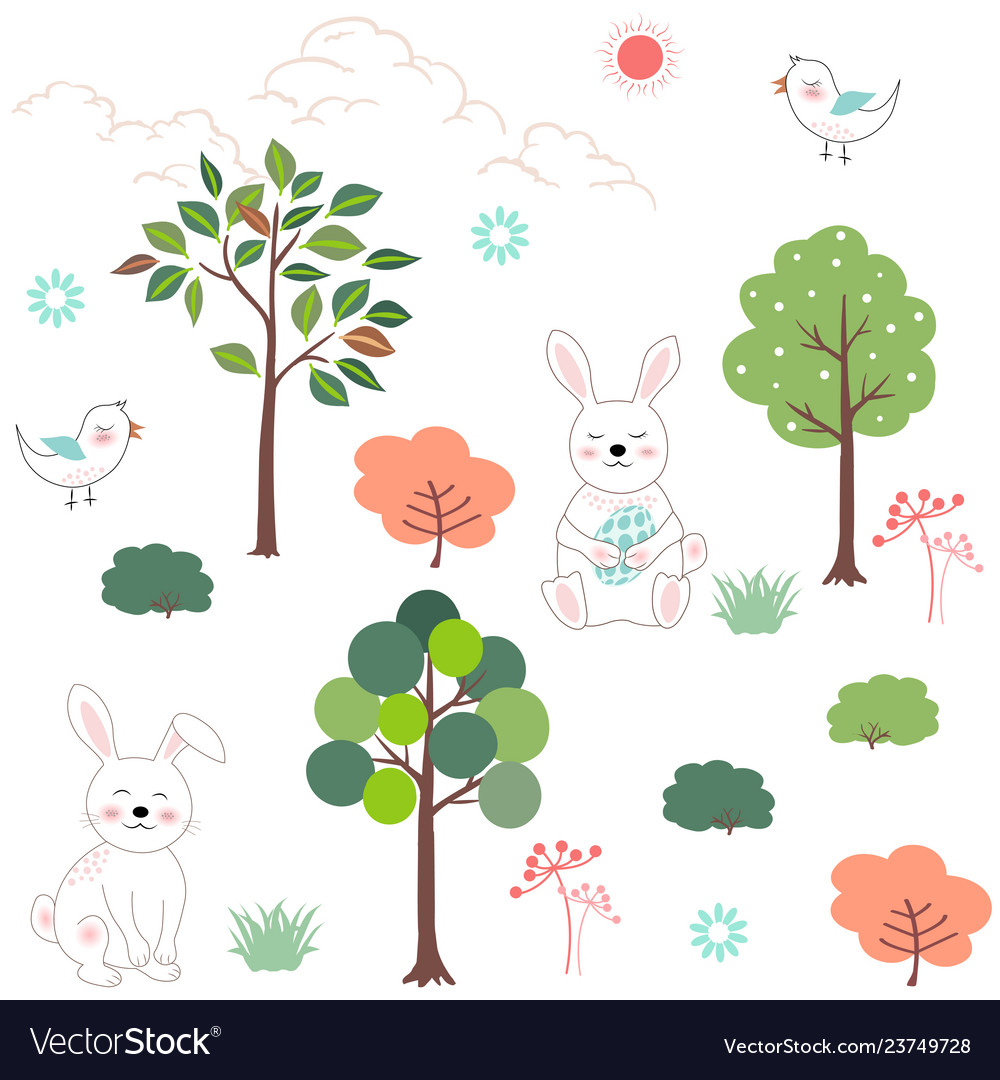 Cute rabbits in the forest seamless pattern