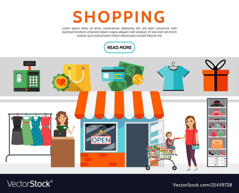 Flat shopping elements set
