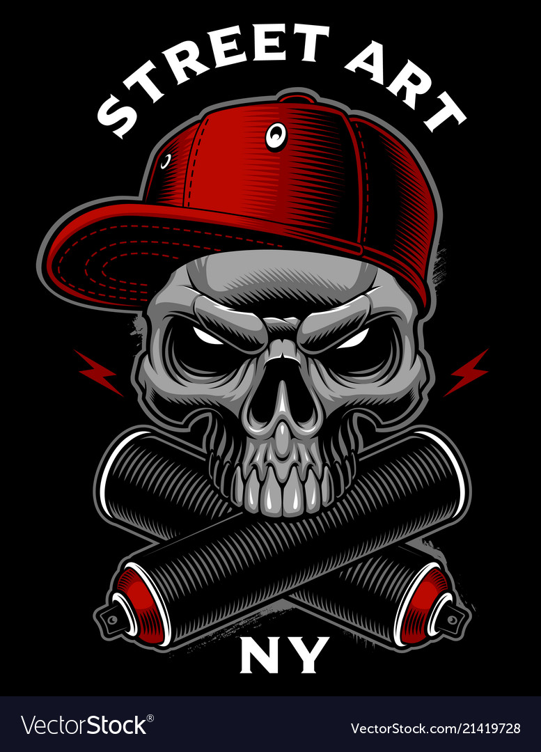 Graffiti skull with spray cans vector image