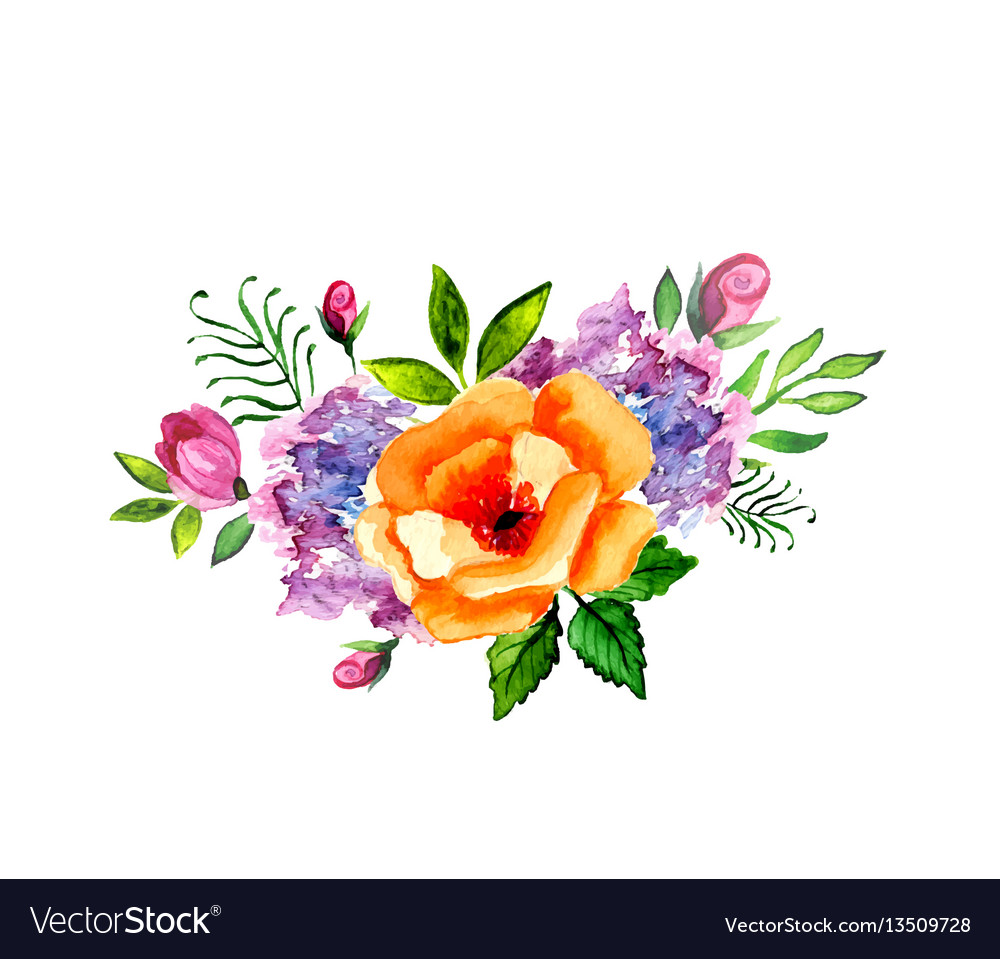 Hand painted watercolor floral bouquet