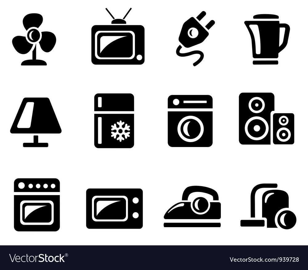 Home Electronics Icons Royalty Free Vector Image
