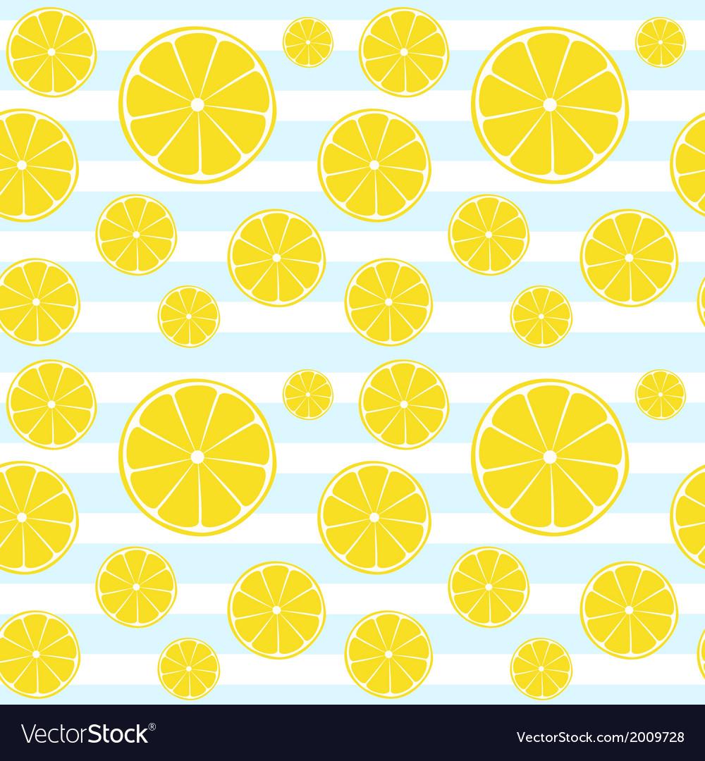 Lemons slices on blue white striped seamless patte
