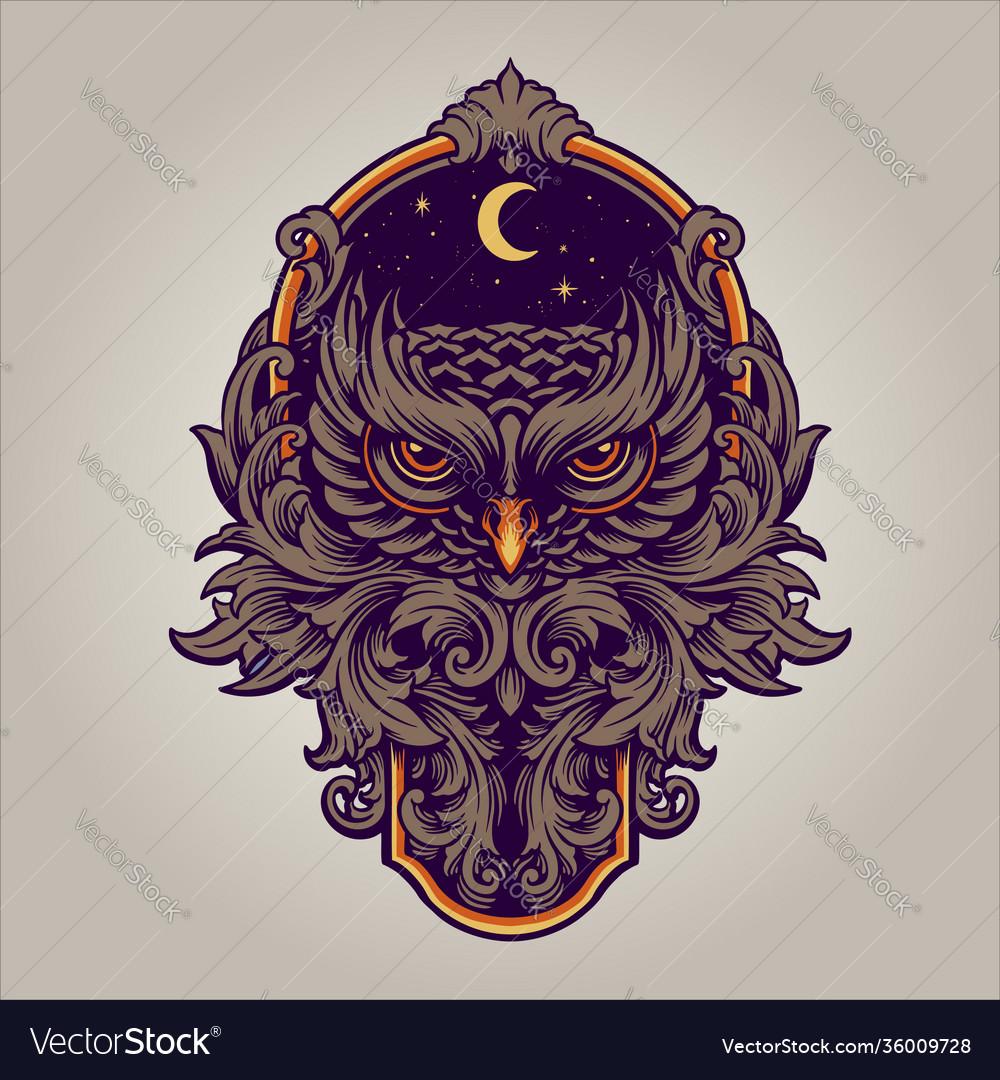 Night owl predator with frame ornaments swirl